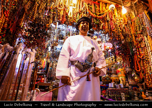 Middle East - Sultanate of Oman - Muscat - مسقط - Masqaṭ - Muscat Port - Port Sultan Qaboos - Muttrah Corniche - Mutrah Souk - Matrah Souq - Al Dhalam Souq - One of the oldest markets in Oman dating back about two hundred years - Traditional Arab market offering many local products such as frankincense, perfume oils, fresh jasmine, spices silver