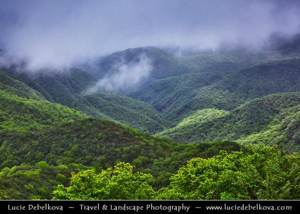 Middle East - Sultanate of Oman - Dhofar Province - Salalah Area - صلالة - Ṣalālah - Rugged mountains during Khareef - Rainy Season bringing misty & foggy weather changing whole landscape into green paradise