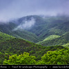 Middle East - Sultanate of Oman - Dhofar Province - Salalah Area - صلالة - Ṣalālah - Rugged mountains during Khareef - Rainy Season bringing misty & foggy weather changing whole landscape into green paradise