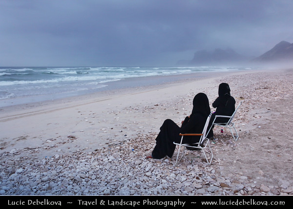 Middle East - Sultanate of Oman - Dhofar Province - Salalah Area - صلالة - Ṣalālah - Al-Mughsayl Beach - Al Maghseel - Mughsail - Maghsail - Scenic coastal location along Indian Ocean with rugged mountains during Khareef - Rainy Season bringing misty & foggy weather