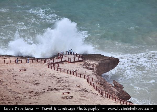 Middle East - Sultanate of Oman - Dhofar Province - Salalah Area - صلالة - Ṣalālah - Al-Mughsayl - Al-Maghseel Beach - Scenic coastal location along Indian Ocean with rugged mountains during Khareef - Rainy Season