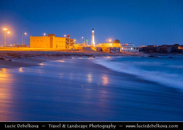 Middle East - Sultanate of Oman - Dhofar Province - Salalah Area - صلالة - Ṣalālah - Mirbat - مرباط‎ - Coastal town along Indian Ocean - Traditional local mosque on the city beach