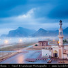 Middle East - Sultanate of Oman - Dhofar Province - Salalah Area - صلالة - Ṣalālah - Al-Mughsayl Beach - Al Maghseel - Mughsail - Maghsail - Scenic coastal location along Indian Ocean with rugged mountains during Khareef - Rainy Season bringing misty & foggy weather - Lonely Mosque at Dusk - Twilight - Night
