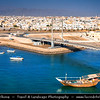 Middle East - Sultanate of Oman - Ash Sharqiyah Region - Sur - صور‎ - One of ancient Omani maritime cities & important destination point for sailors on coast of Gulf of Oman - Cityscape with modern Khour Al Batah Suspension Bridge