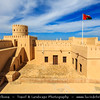 Middle East - Sultanate of Oman - Ash Sharqiyah Region - Sur - صور‎ - One of the ancient Omani maritime cities & important destination point for sailors on coast of Gulf of Oman - As Sineshlah Castle - Sunaysilah Fort - Crowning a rocky eminence, 300-year-old castle built on classic square plan with four round watchtowers