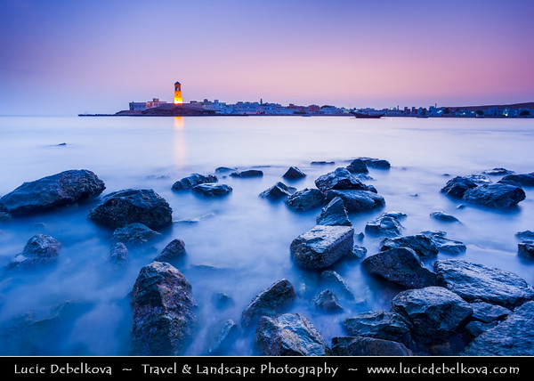 Middle East - Sultanate of Oman - Ash Sharqiyah Region - Sur - صور - One of the ancient Omani maritime cities & important destination point for sailors on coast of Gulf of Oman - Al-Ayjah Lighthouse - Impressive 3-story tower with domed roof in Ayjah Bay