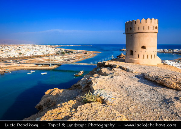 Middle East - Sultanate of Oman - Ash Sharqiyah Region - Sur - صور‎ - One of ancient Omani maritime cities & important destination point for sailors on coast of Gulf of Oman - Cityscape from watchtower located high above town