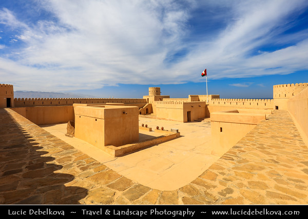 Middle East - Sultanate of Oman - Ash Sharqiyah Region - Sur - صور - One of the ancient Omani maritime cities & important destination point for sailors on coast of Gulf of Oman - As Sineshlah Castle - Sunaysilah Fort - Crowning a rocky eminence, 300-year-old castle built on classic square plan with four round watchtowers