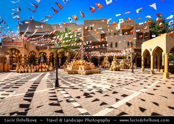 Middle East - Sultanate of Oman - Ad Dakhiliyah Region - Nizwa - نزوى‎ - Historical town - One of oldest cities in Oman - Former center of trade, religion, education and art with wealth of cultural & ancient landmarks - Nizwa main historical market, souq, souk with various local products
