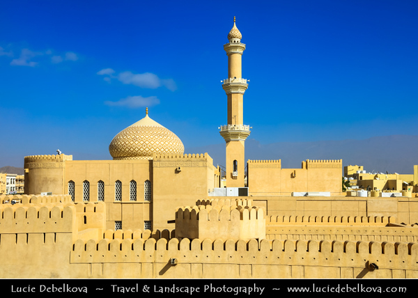 Middle East - Sultanate of Oman - Ad Dakhiliyah Region - Nizwa - نزوى - Historical town - One of oldest cities in Oman - Nizwa Fort Area & Beautiful historical As Sultan Qaboos Mosque