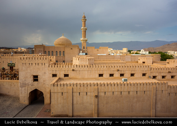 Middle East - Sultanate of Oman - Ad Dakhiliyah Region - Nizwa - نزوى‎ - Historical town - One of oldest cities in Oman - Nizwa Fort - Massive castle & Oman's most visited national monument & Beautiful historical As Sultan Qaboos Mosque