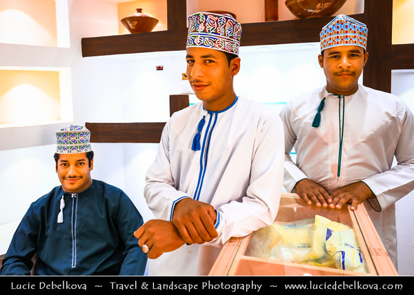 Middle East - Sultanate of Oman - Ad Dakhiliyah Region - Nizwa - نزوى - Historical town - One of oldest cities in Oman - Former center of trade, religion, education and art with wealth of cultural & ancient landmarks - Nizwa main historical market, souq, souk with various local products - Famous Omani Halwa Sweet - Symbol of traditional Omani hospitality usually served in Omani homes before drinking Arabic coffee
