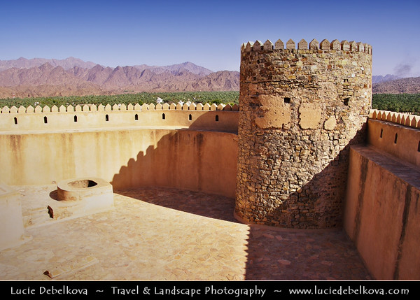 Middle East - Sultanate of Oman - Al Batinah Region - Rustaq - الرستاق - One of former capitals of Oman -  Rustaq fort - Imposing structure built on three levels, containing separate houses, armoury, mosque and four towers
