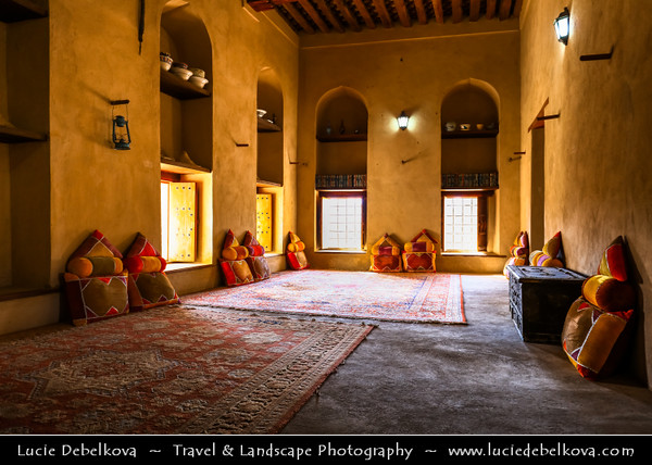 Middle East - Sultanate of Oman - Ad Dakhiliyah Region - Nizwa - نزوى - Historical town - One of oldest cities in Oman - Nizwa Fort - Massive castle & Oman's most visited national monument - Traditional Omani interior