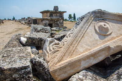 Broken sarcophagus in Hierapolis.