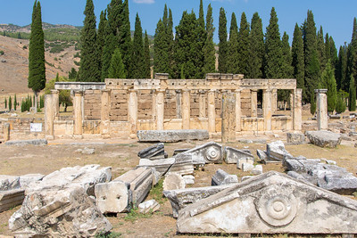 The Latrina at the Hierapolis of Phrygia with ruins scattered about.