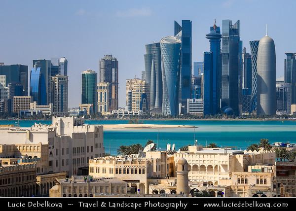 Middle East - Qatar - Doha - الدوحة - ad-Dawḥa - ad-Dōḥa - Souq Waqif & New and Modern Skyline with Sky High Skyscrapers along the Corniche