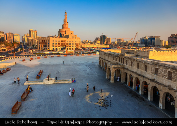 Middle East - GCC - Qatar - Doha - الدوحة - ad-Dawḥa - ad-Dōḥa - Souq Waqif - Souk Wakif - Shopping destination built in traditional architectural Qatari style &  Fanar - Spiral Minaret of Doha Islamic Center