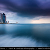 Middle East - GCC - Qatar - Doha - الدوحة‎ - ad-Dawḥa - ad-Dōḥa - Doha Corniche & New and Modern Skyline with Sky High Skyscrapers along sea shore