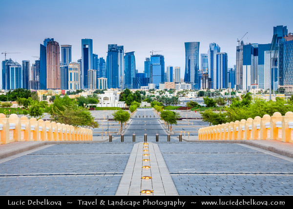 Middle East - GCC - Qatar - Doha - الدوحة - ad-Dawḥa - ad-Dōḥa - New and Modern Skyline with Sky High Skyscrapers from Abdul Wahhab Mosque