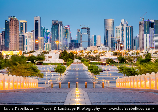Middle East - GCC - Qatar - Doha - الدوحة‎ - ad-Dawḥa - ad-Dōḥa - New and Modern Skyline with Sky High Skyscrapers from Abdul Wahhab Mosque