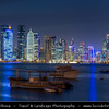 Middle East - Qatar - Doha - الدوحة‎ - ad-Dawḥa - ad-Dōḥa - New and Modern Skyline with Sky High Skyscrapers along the Corniche