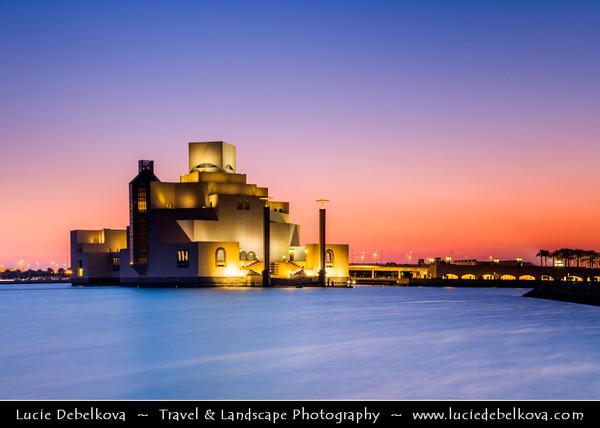 Middle East - GCC - Qatar - Doha - الدوحة - ad-Dawḥa - ad-Dōḥa - Doha Corniche & Museum of Islamic Arts - MIA - Iconic building and major landmark - Islamic art from three continents over 1,400 years - Dusk - Twilight - Blue Hour - Night