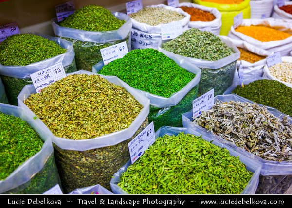 Middle East - GCC - Qatar - Doha - الدوحة - ad-Dawḥa - ad-Dōḥa - Souq Waqif - Souk Wakif - Shopping destination built in traditional architectural Qatari style - Market with stores selling a variety of spices, herbs and nuts