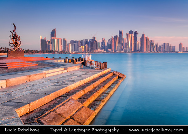 Middle East - GCC - Qatar - Doha - الدوحة - ad-Dawḥa - ad-Dōḥa - Doha Corniche & New and Modern Skyline with Sky High Skyscrapers along sea shore