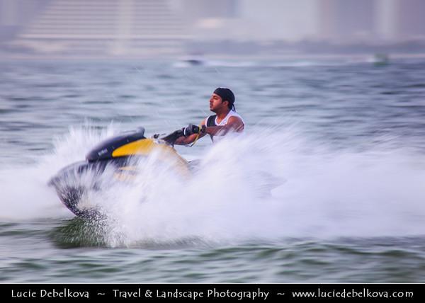 Qatar - Doha - الدوحة - ad-Dawḥa - ad-Dōḥa - Doha Corniche and its New and Modern Skyline - Enjoying Jet Ski - Popular GCC Sport