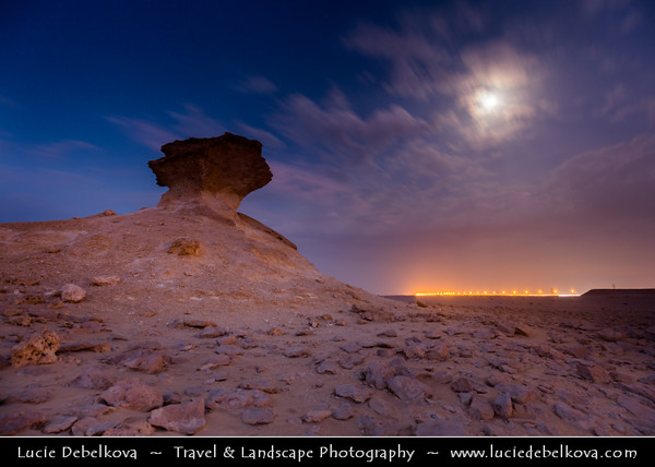 Middle East - GCC - Qatar - Bir Zekreet Desert Landscape - Spectacular rocky limestone cliffs & formations such as desert mushroom - Full moon - Dusk - Twilight - Blue Hour - Night