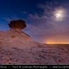 Middle East - GCC - Qatar - Bir Zekreet Desert Landscape - Spectacular rocky limestone cliffs & formations such as desert mushroom - Full moon - Dusk - Twilight - Blue Hour - Night