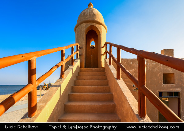 Middle East - GCC - Qatar - Al Wakrah - Al Waqra - Al Waqrah - Village at shores of the sea built in traditional Qatari style - Small mosque with a minaret