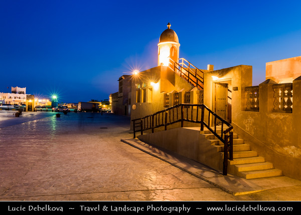 Middle East - GCC - Qatar - Al Wakra- Small mosque with a minareth - Al Waqra - Al Waqrah - Village at shores of the sea built in traditional Qatari style - Small mosque with a minaret - Dusk - Twilight - Blue Hour - Night