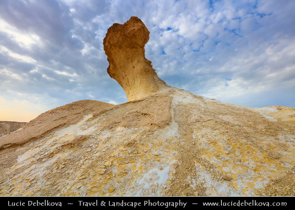 Middle East - GCC - Qatar - Bir Zekreet Desert Landscape - Spectacular rocky limestone cliffs & formations such as desert mushroom