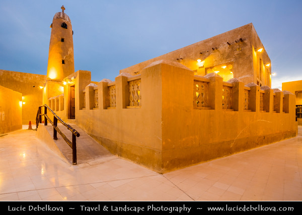 Middle East - GCC - Qatar - Al Wakrah - Al Waqra - Al Waqrah - Village at shores of the sea built in traditional Qatari style - Small mosque with a minaret - Dusk - Twilight - Blue Hour - Night