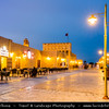 Middle East - GCC - Qatar - Al Wakrah - Al Waqra - Al Waqrah - Village at shores of the sea built in traditional Qatari style - Dusk - Twilight - Blue Hour - Night