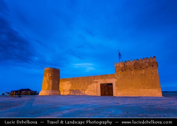 Middle East - GCC - Zubara Fort - الزبارة - Al Zubarah - Al Zubarah - Historic Qatari military fortress built under oversight of Sheikh Abdullah bin Qassim Al Thani in 1938 - Dusk - Twilight - Blue Hour - Night