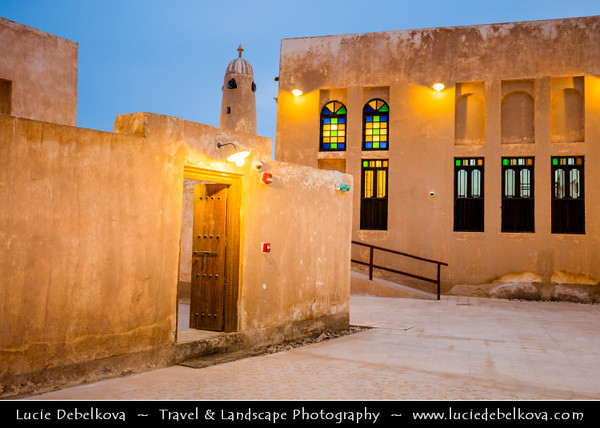 Middle East - GCC - Qatar - Al Wakrah - Al Waqra - Al Waqrah - Village at shores of the sea built in traditional Qatari style - Small mosque with a minaret - Dusk - Twilight - Blue Hour - Night
