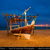Middle East - GCC - Qatar - Al Wakrah - Al Waqra - Al Waqrah - Village at shores of the sea built - Traditional Dhow - Boat - Dusk - Twilight - Blue Hour - Night