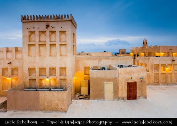 Middle East - GCC - Qatar - Al Wakrah - Al Waqra - Al Waqrah - Village at shores of the sea built in traditional Qatari style - Dusk - Twilight - Blue Hour - Night