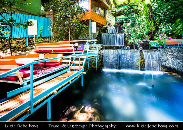 Middle East - Turkey - Türkiye - Antalya Province - Olympos Valley National Park - Ulupınar - Mountain village with fish restaurants between waterfalls