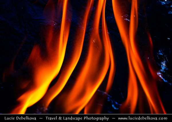 Middle East - Turkey - Türkiye - Antalya Province - Chimaera - The Ethernal Flames of Yanartas - Mythical flames of breathing Chimaera monster - Permanent fire caused by emissions of a gas mixture above ruins of Hephaistos Temple, 3 kilometers north Çirali village near ancient Olympos in Lycia