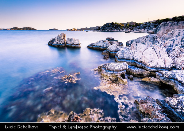 Middle East - Turkey - Türkiye - Antalya Province - Simena - Popular Lycian site, situated upon one of the most attractive spots of the Turkish coast near Kekova island with ancient towns of Kaleköy, Üçağiz & Simena and their large ancient Lycian necropolis