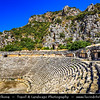 Middle East - Turkey - Türkiye - Antalya Province - Telmessos - Telmessus - Telmissus - Lycian site and ancient Lycian necropolis with group of more than 20 rock tombs in steep rock wall above town