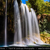 Middle East - Turkey - Türkiye - Southern Anatolia - Antalya Province - Upper Düden Waterfalls - Düdenbaşı waterfall karstic system formed by the Düden River flowing from Taurus mountains - Popular place with promenades & restaurants