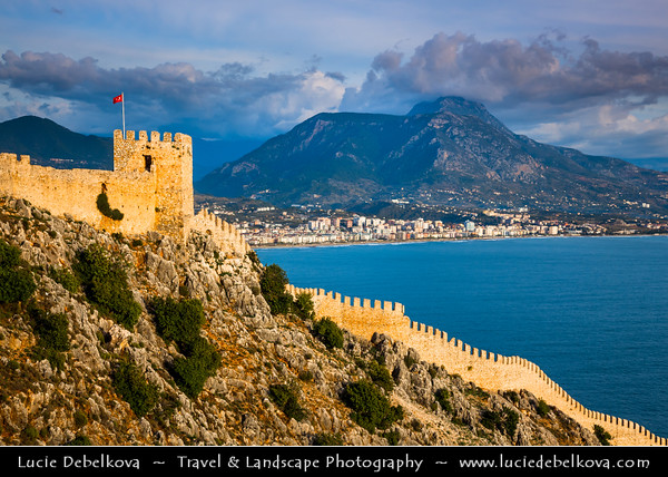 Middle East - Turkey - Türkiye - Mediterranean coast of southwestern Turkey - Antalya Province - Alanya - Alaiye - Beach resort city located on the Turkish Riviera below the Taurus Mountains - Alanya Castle - Alanya Kalesi - Impressive medieval Seljuk-era fortress on rocky peninsula overlooking the city