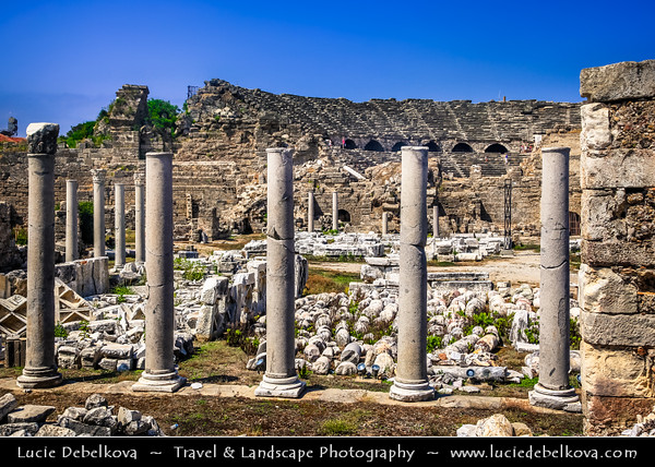 Turkey - Türkiye - Antalya Province - Side - Ancient Greek city on Mediterranean coast - Resort town & one of the best-known classical sites with number of ruins remaining from the Roman empire