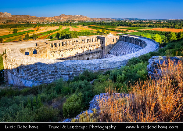 Middle East - Turkey - Türkiye - Antalya Province - Aspendos - Aspendus - Ancient Greco-Roman city - Aspendos Amphitheater - Spectacularly well-preserved theatre & one of the best examples of Roman theatre construction in the world - Oldest Roman theater in Anatolia