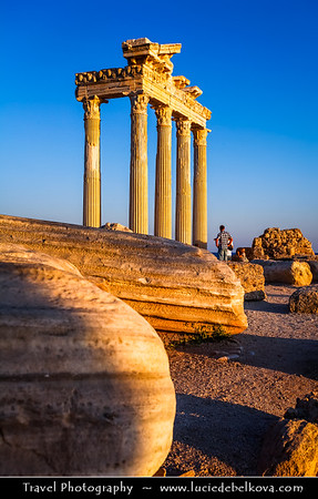 Middle East - Turkey - Türkiye - Antalya Province - Side - Ancient Greek city on Mediterranean coast - Resort town & one of the best-known classical sites with number of ruins remaining from the Roman empire - Ruins of  Temple of Apollo by the sea